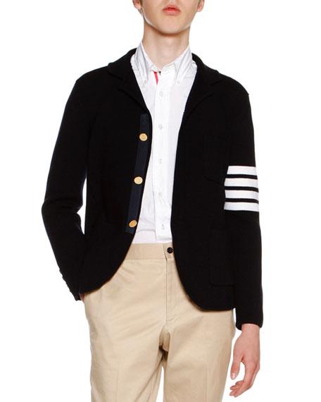 Thom Browne 4-Bar Striped Knit Sport Coat, Navy