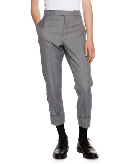 Thom Browne Cuffed Side-Stripe Straight-Leg Trousers, Gray