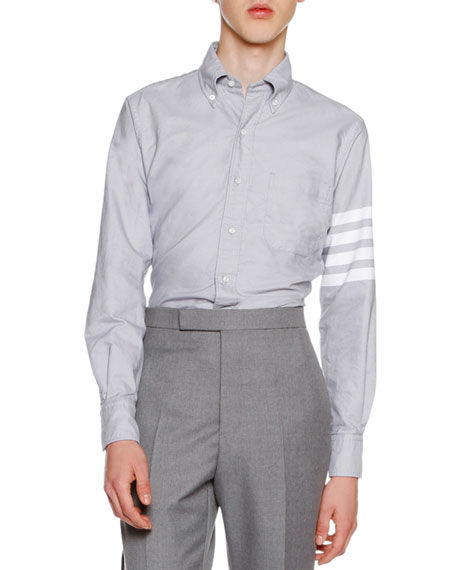 Thom Browne 4-Bar Striped Oxford Shirt, Medium Gray