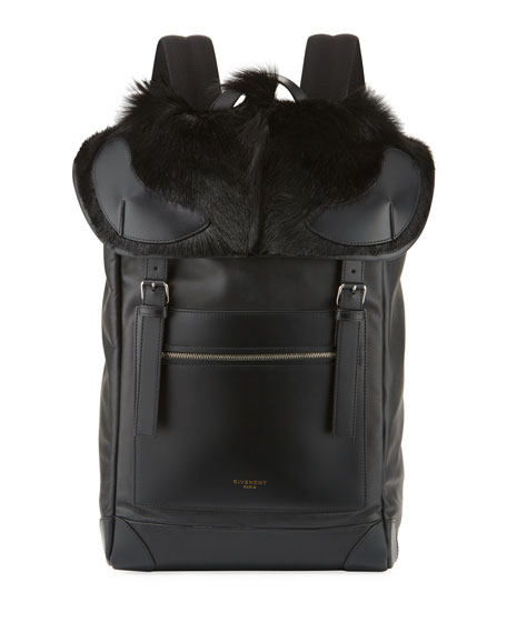 Givenchy Rider Leather Backpack with Fur Flap