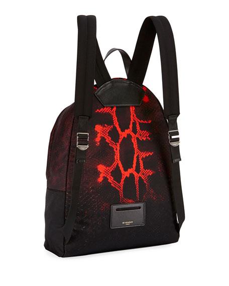 Snake-Print Nylon Backpack, Black/Red