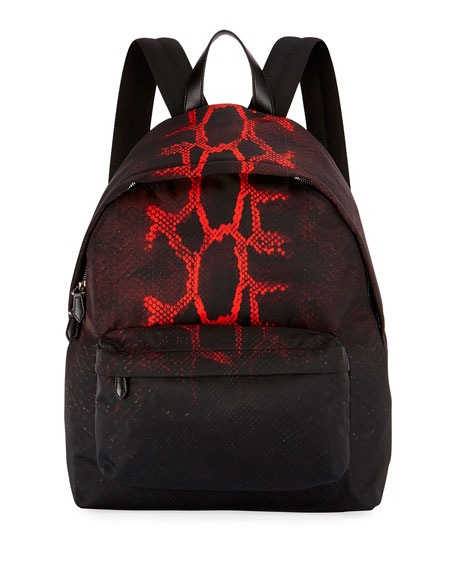 Givenchy Snake-Print Nylon Backpack, Black/Red