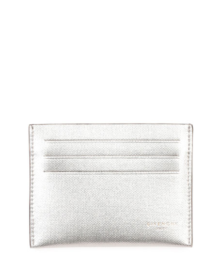 Givenchy Metallic Leather Card Case, Silver