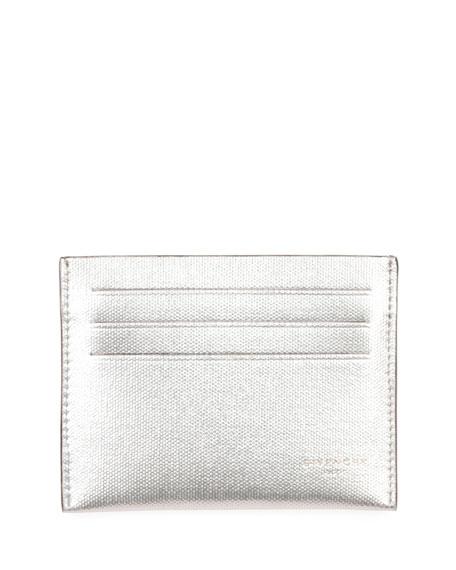 Metallic Leather Card Case, Silver