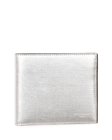Givenchy Metallic Leather Bi-Fold Wallet, Silver