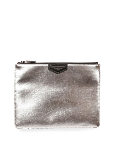 Metallic Leather Zip-Top Pouch, Silver