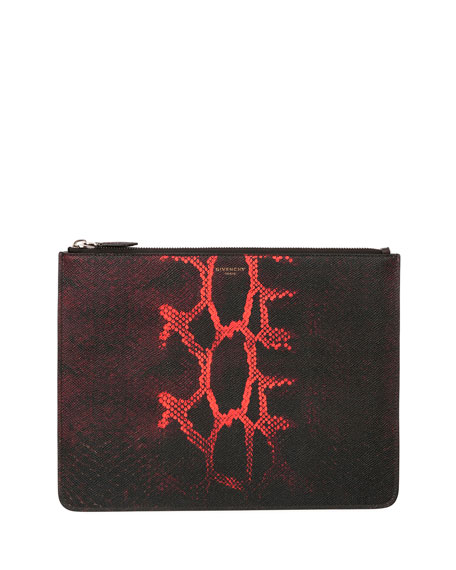 Givenchy Snake-Print Leather Zip-Top Pouch, Black/Red
