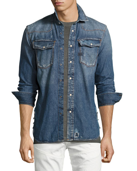 G-Star 3301 Distressed Denim Western Shirt, Dark Aged