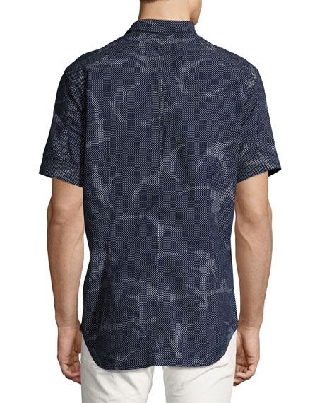 Landoh Camouflage Chambray Short-Sleeve Shirt, Navy