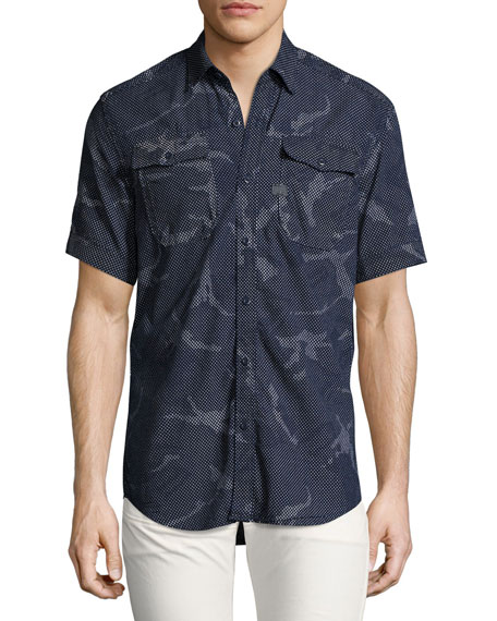 G-Star Landoh Camouflage Chambray Short-Sleeve Shirt, Navy