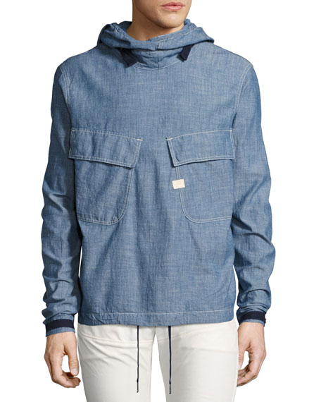 Chambray PW Hooded Pullover, Blue
