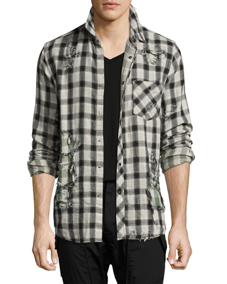 Weston Distressed Plaid Shirt, Black/White