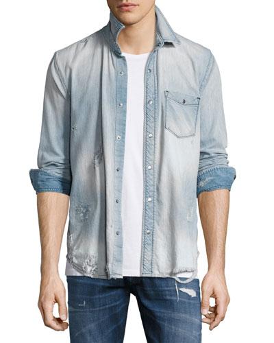 Weston Distressed Denim Shirt, Light Wash