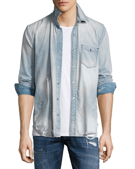 Hudson Weston Distressed Denim Shirt, Light Wash