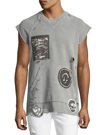 Hudson Rex Cutoff Short-Sleeve Sweatshirt with Patches, Gray