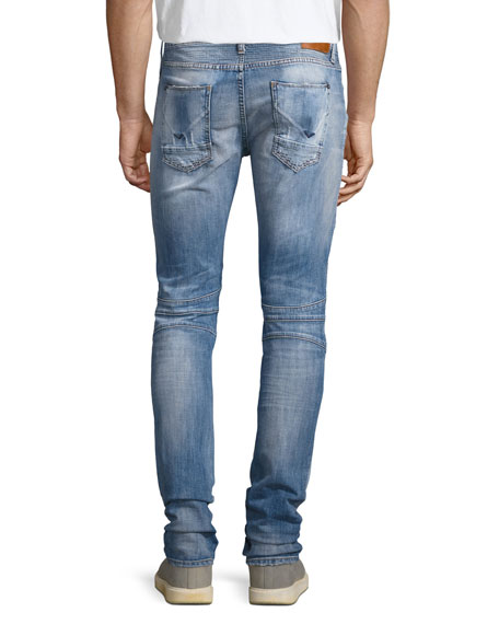 Blinder Biker Distressed Skinny Jeans, Thrash Medium Blue