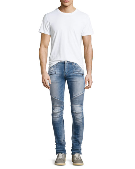 Men's Blinder Biker Distressed Skinny Jeans, Thrash Medium Blue