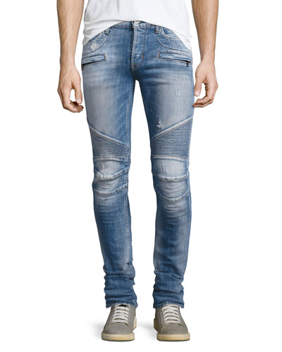Men's Blinder Biker Distressed Skinny Jeans, Thrash Medium Blue