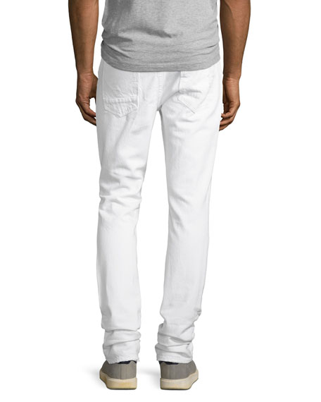 Axel Distressed Slouchy Skinny Jeans, White