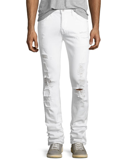 Hudson Axel Distressed Slouchy Skinny Jeans, White