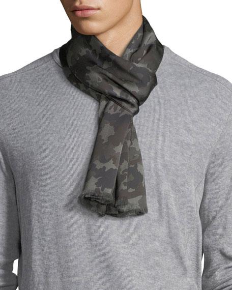 Tubular Camouflage Silk Scarf