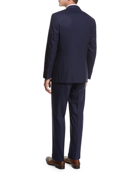 Textured-Stripe Super 140s Impeccabile Wool Two-Piece Suit, Navy Blue