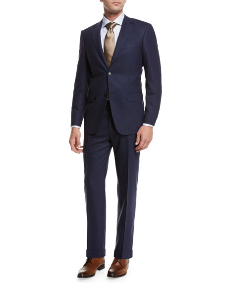 Canali Textured-Stripe Super 140s Impeccabile Wool Two-Piece