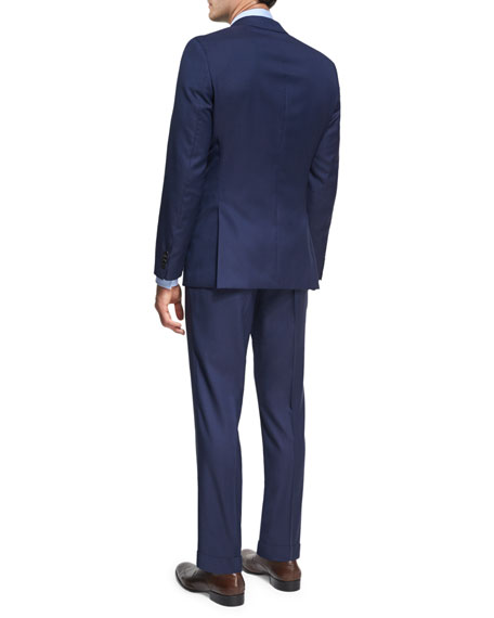 Micro-Stripe Wool Two-Piece Suit, Bright Navy