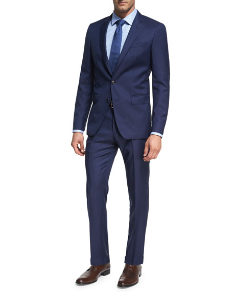 BOSS Micro-Stripe Wool Two-Piece Suit, Bright Navy