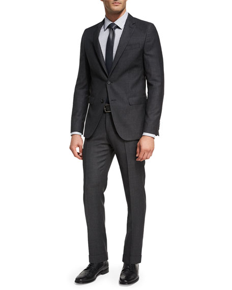 BOSS Birdseye-Striped Wool Two-Piece Suit, Charcoal