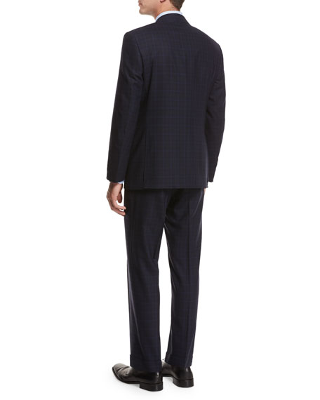 Plaid Super 140s Impeccabile Wool Two-Piece Suit, Gray