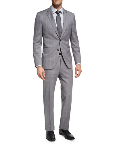 Windowpane Check Two-Piece Suit, Light Gray