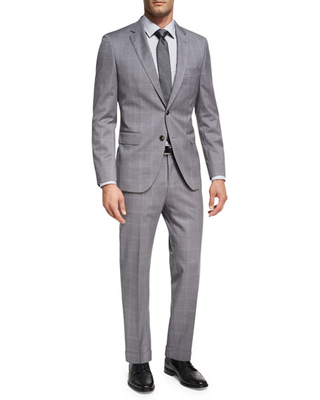 BOSS Windowpane Check Two-Piece Suit, Light Gray