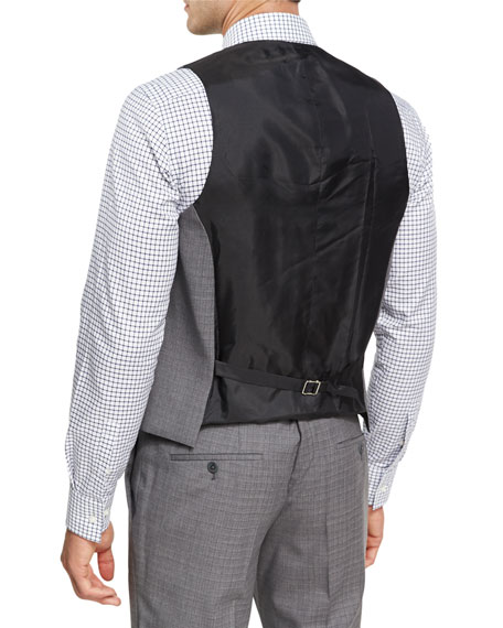 Broken Check Wool 3-Piece Suit, Gray