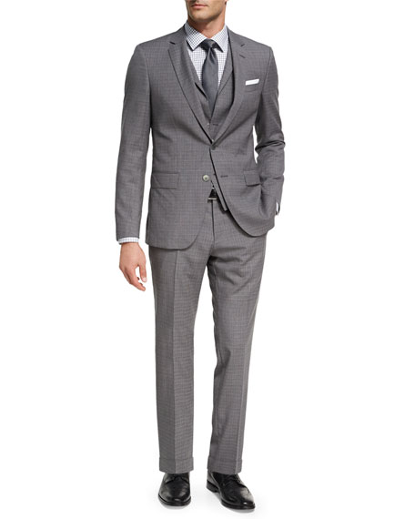 BOSS Broken Check Wool 3-Piece Suit, Gray