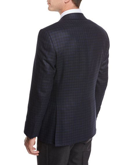 Check Silk-Wool Sport Coat, Blue/Black