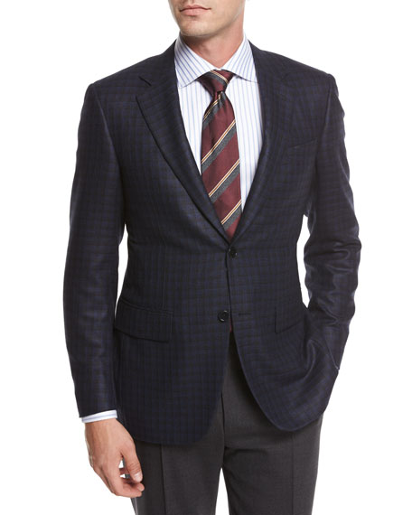 Canali Check Silk-Wool Sport Coat, Blue/Black