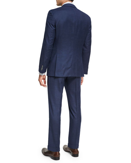 Box-Check Wool 3-Piece Suit, Navy