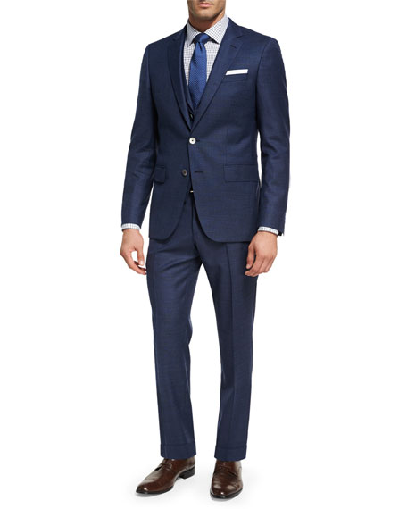 BOSS Box-Check Wool 3-Piece Suit, Navy