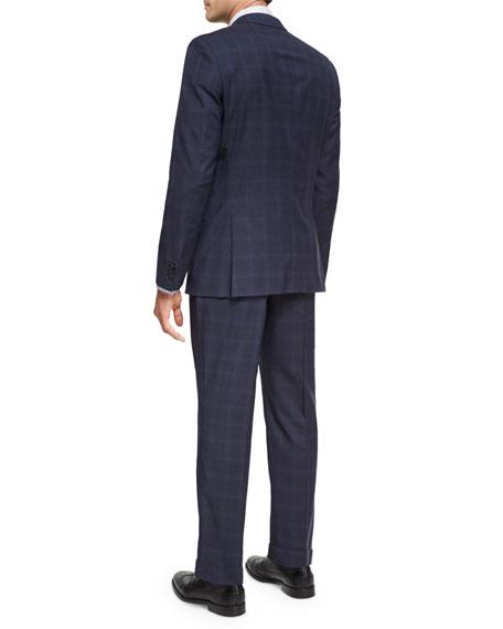 Windowpane Plaid Wool Two-Piece Suit, Denim Blue