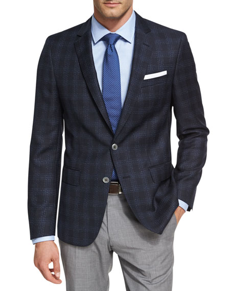BOSS Shadow Windowpane Wool Sport Coat, Navy
