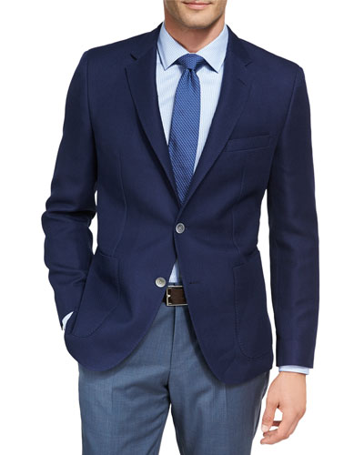 Textured Wool-Cotton Sport Coat, Blue