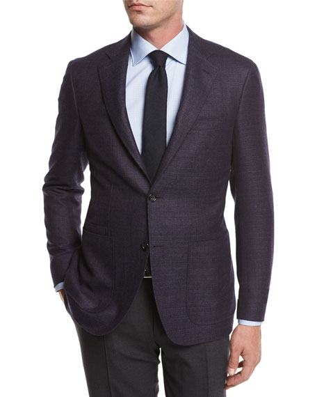 Canali Melange Wool Sport Coat, Navy/Berry