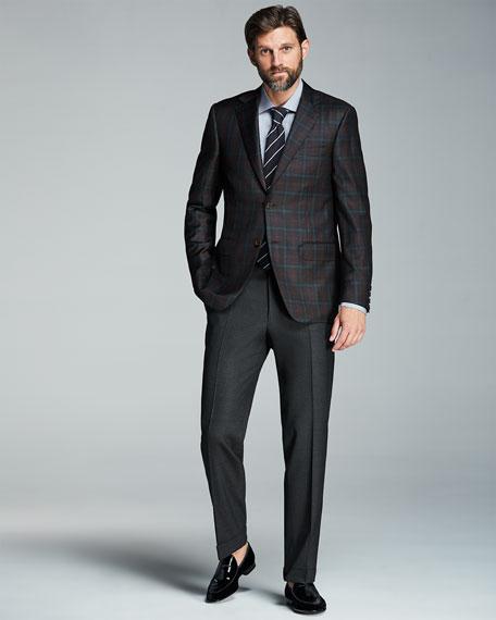 Melange Stretch-Wool Trousers, Gray