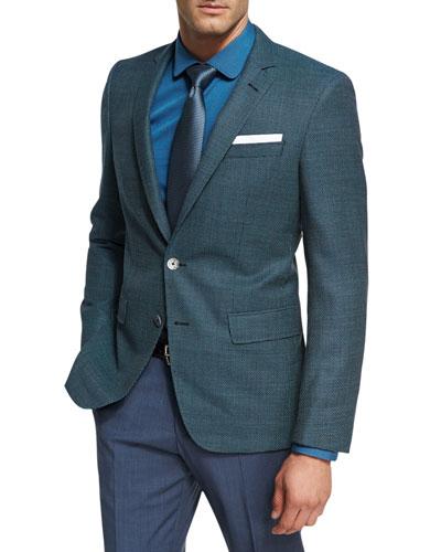 Mini-Dot Textured Wool Sport Coat, Teal