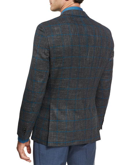 Windowpane Jersey Wool Sport Coat, Charcoal/Teal