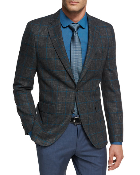BOSS Windowpane Jersey Wool Sport Coat, Charcoal/Teal