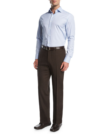 Melange Stretch-Wool Flat-Front Pants, Brown