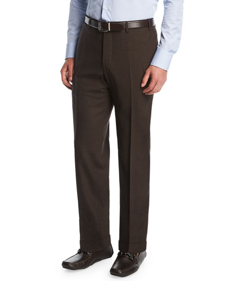 Melange Stretch-Wool Flat-Front Pants, Brown