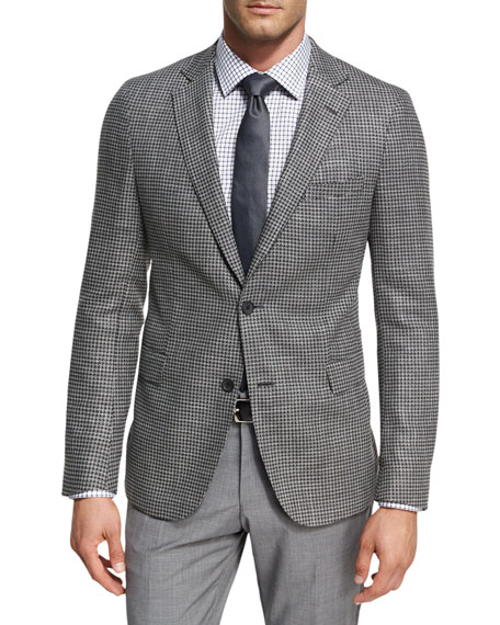 BOSS Houndstooth Jersey Wool Sport Coat, Charcoal